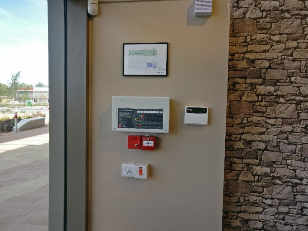 Business fire alarm system controls